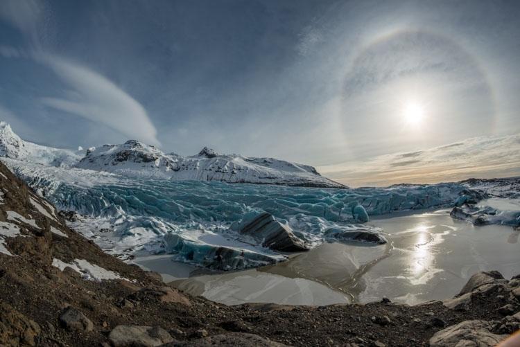 Een Halo boven de Svinafelljökull