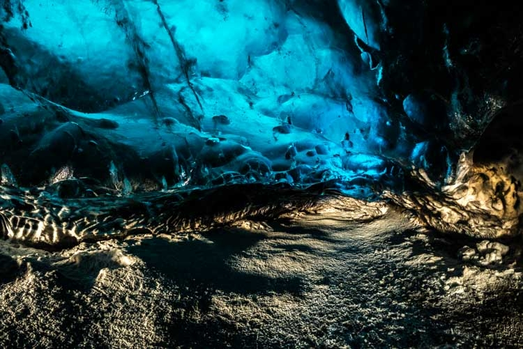 De Crystal cave, ijsgrot in de Vatnajökull