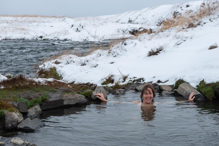 Warm badje bij Reykjafoss