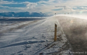 Sneeuw raast over de weg