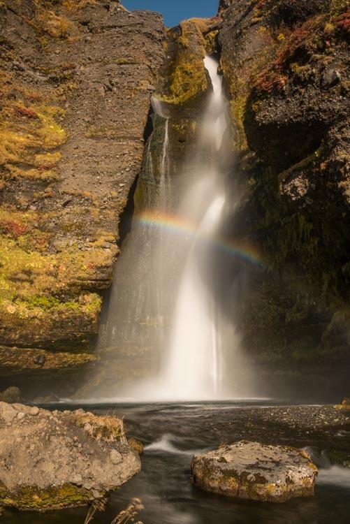 Gluggafoss met regenboog