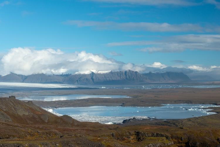 Uitzicht over de ijsbergenmeren